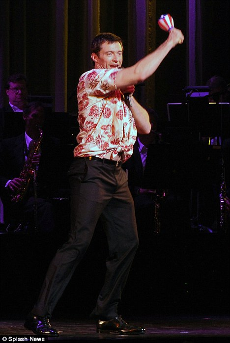 Dancing up a storm: Hugh sings a variety of Broadway favourites during his show
