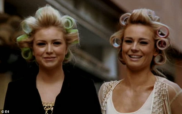 Curls aloud: Chloe and Amanda head out on the streets of Liverpool with their hair in rollers