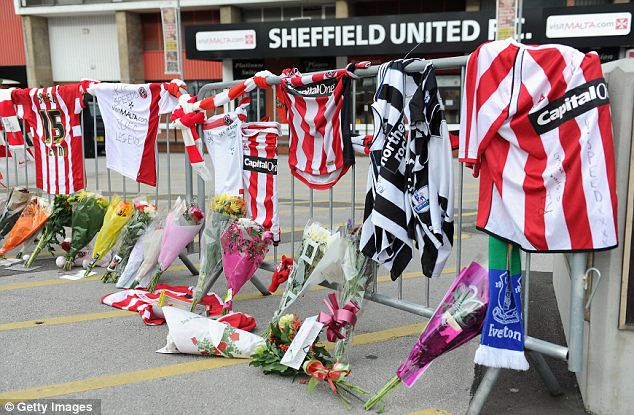 Tributes sit outside Bramall Lane, the home of Sheffield United, in memory of former player and manager Gary Speed