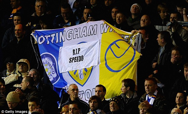 Leeds fans informally display their affection for the man they knew as Speedo. He began his career with Leeds United aged 19