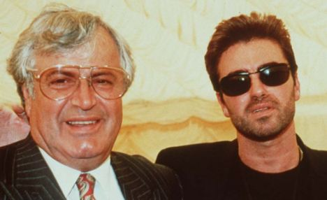 Hour of need: The singer with his father, Kyriacos Panayiotou, who is at the hospital along with the star's sisters