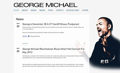 Cancelled: The singer's tour was postponed last month when he was struck down with pneumonia