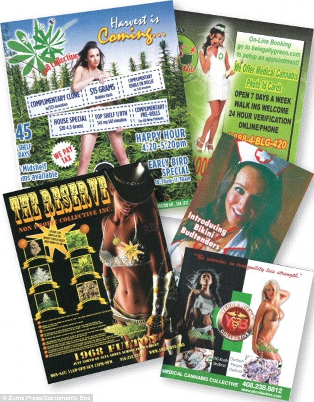 Growing problem: Dispensers of medicinal marijuana have attracted controversy for using bikini-clad girls in their advertising