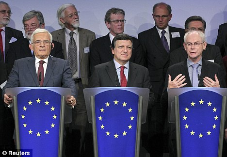 President of the European Parliamtn Jerzy Buzek (left), European Commission President Jose Manuel Barroso (centre) and European Council President Herman Van Rompuy (right) address a news conference in Brussels yesterday