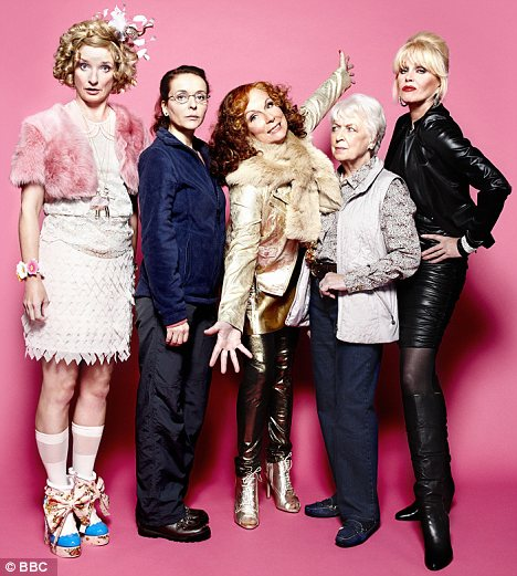Making a comeback: Ab Fab's cast Bubble (Jan Horrocks), Saffy (Julia Sawalha), Edina (Saunders), Mother (June Whitfield) and Patsy (Joanna Lumley)