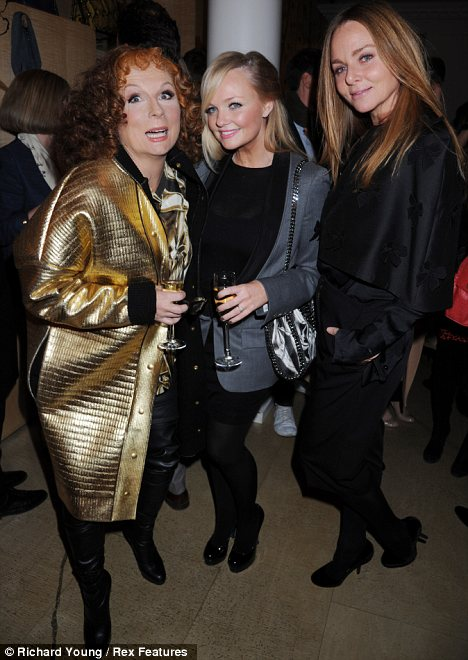 New co-stars: Jennifer Saunders as her alter-ego Edina, with Emma Bunton and Stella McCartney who will also appear in the Absolutely Fabulous Christmas special