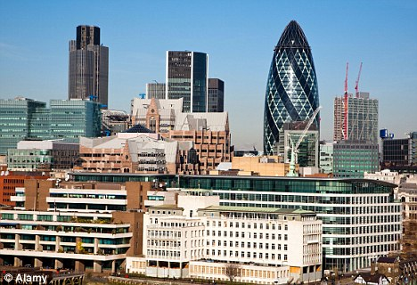 The land of money: Many of the firms listed in the FSTE 100 index have offices in London's financial district, the City, pictured