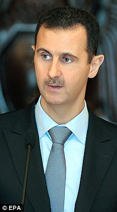 Violence: President al-Assad has been supplied with Russian cruise missiles