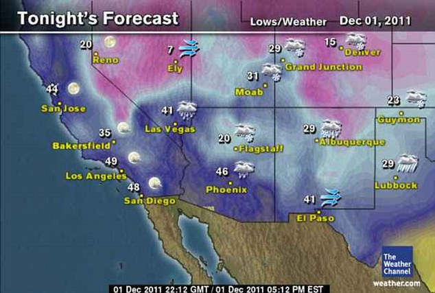 Tonight: This forecast map shows how temperatures will drop to as low as 7F on the West side of the U.S.