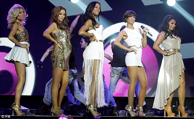 All fired up: Una joined her bandmates (L-R) Mollie King, Rochelle Wiseman, Frankie Sandford and Vanessa White on stage