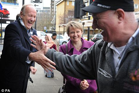 Former Metropolitan Police Commissioner Lord Stevens and Shadow Home Secretary Yvette Cooper meet local people in north-west London