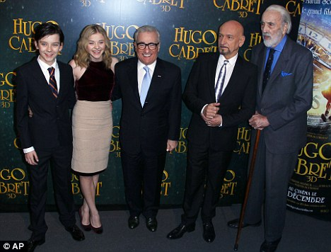 Youth and experience: Chloe and Asa posed for pictures with co-stars Sir Ben Kingsley and Sir Christopher Lee