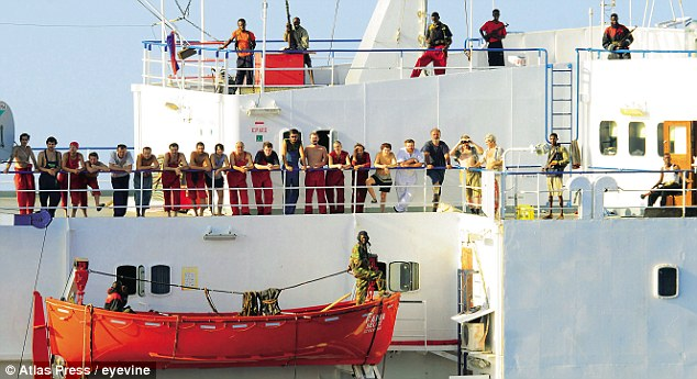 The crew of the Ukrainian-owned MV Faina being held in 2008, before the payment of a $3.2 million ransom to secure their release