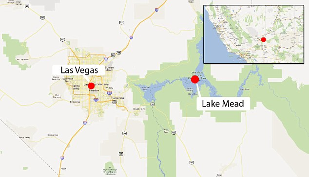 Scene: Map shows the location of the crash site at Lake Mead, near Las Vegas where five people lost their lives