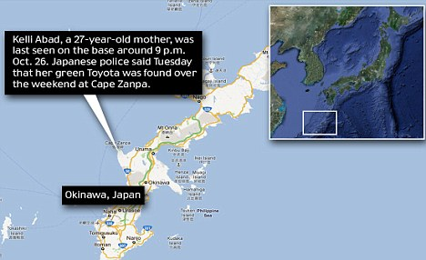 Map: Kelli Abad disappeared from Cape Zanpa on the island of Okinawa, Japan, where her husband was stationed as an airman