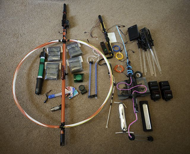 Tools of the 'light-painting' trade: The equipment that was used at teh Wiltshire site to create the stunning effects