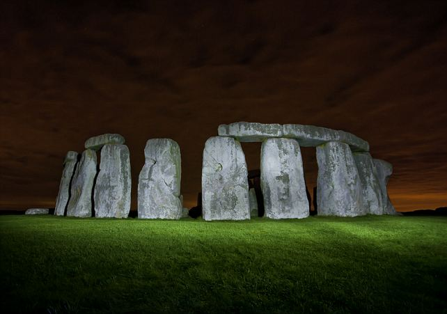 Stonehenge by torchlight: The Wiltshire historical site after it has been 'light-painted'