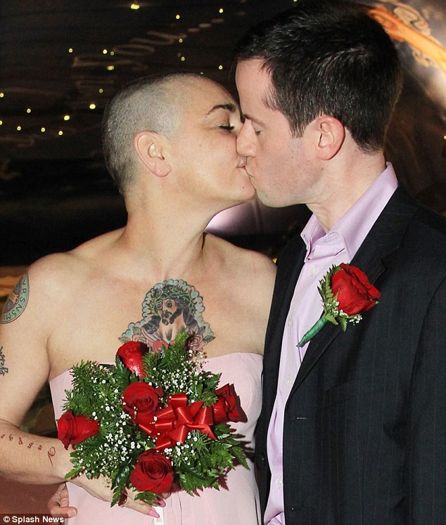 Fourth time lucky: Sinead O'Connor married boyfriend Barry Herridge at the famous Little White Wedding Chapel yesterday, days after announcing their engagement