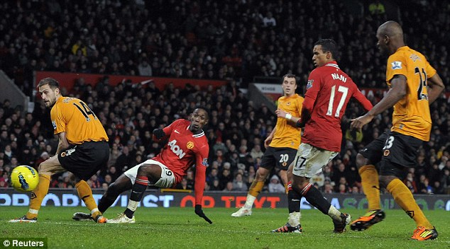 Comfortable win: Nani scores his second goal against Wolves at Old Trafford