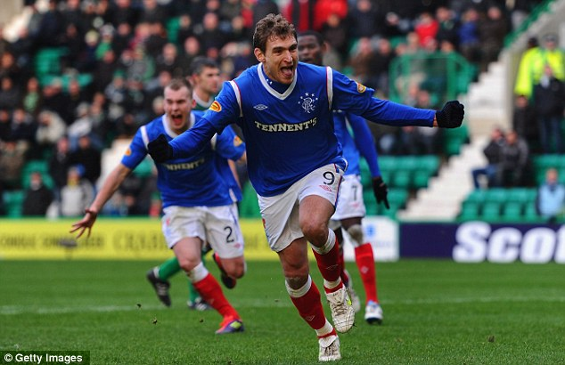 Off and running: Rangers forward Nikica Jelavic celebrates his first goal