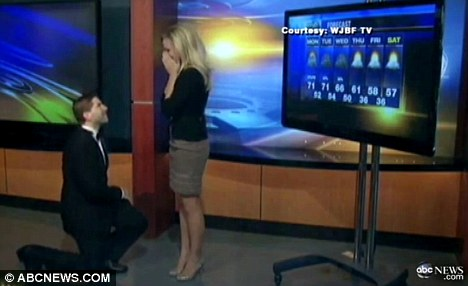 Surprise: Jenna Lee Thomas was in the middle of the five-day forecast when her tuxedo-clad beau, Eric Wright, entered the studio and popped the question