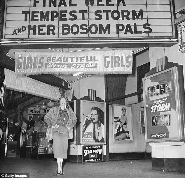 On display: American stripper Tempest Storm poses under a theatre marquee for her burlesque act
