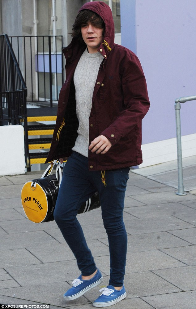 The morning after: Frankie Cocozza looked a little tired as he emerged from a London hotel today