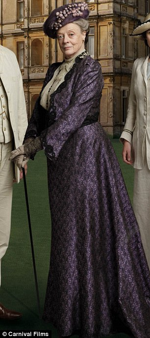 Maggie Smith plays Violet, the Dowager of Downton and mother of Hugh Bonneville's character