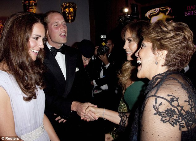 Star-struck: At a BAFTA event, even Hollywood's A-list were in awe of the Royal couple - especially Catherine