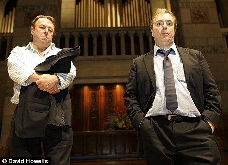 Loss: Peter Hitchens, right, describes his relationship with his late brother Christopher, left, as 'complex' but adds the pair got on better in the last few months than they had in 50 years