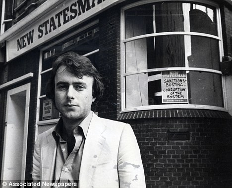 Early days: Christopher stands outside the offices of the New Statesman where he developed a fierce reputation as a left-wing writer in the 1970s