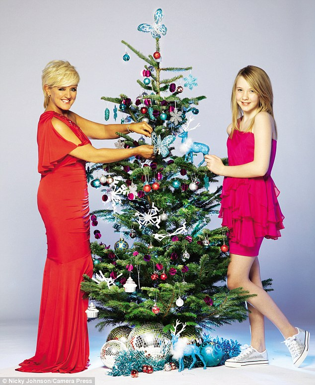 What a difference a year makes! 14 months after beating breast cancer, Bernie Nolan looks the picture of health as she decorates a Christmas tree with daughter Erin