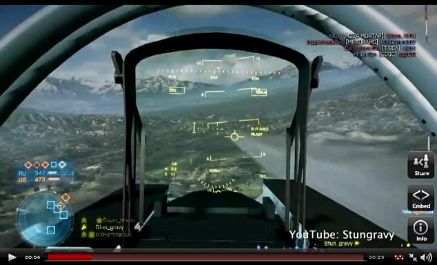 In his sights: The video starts with the gamer flying a jet, with an enemy craft on his tail