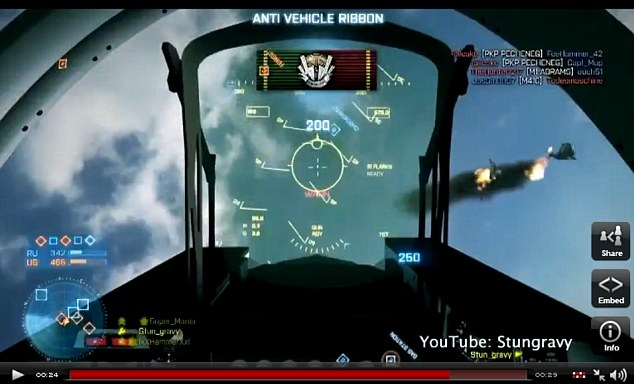 'Insane manoeuvres': The player lands safely back inside the cockpit of his own jet at the end of the stunt
