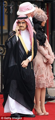 Well connected: Prince Alwaleed leaves Westminster Abbey after attending the wedding of Prince William and Kate Middleton in April