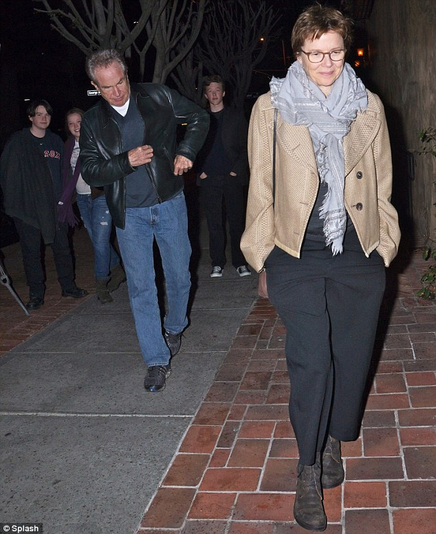 Family fun: Warren and his wife Annette Benning had a slap-up family meal with Stephen last month