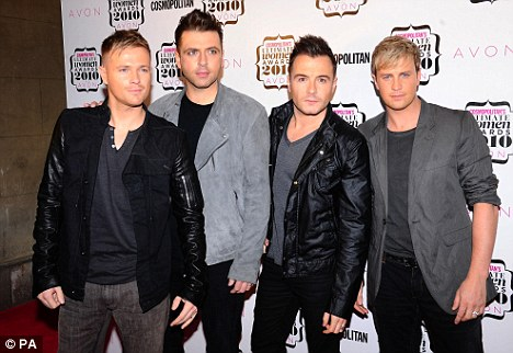 Delighted: Kian's Westlife band mates (L-R Nicky Byrne, Mark Feehily, Shane Filan) Tweeted their congratulations