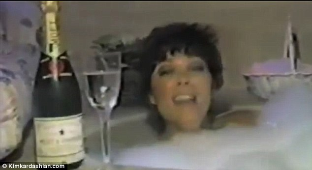 Singing in the bathtub: One of the many locations featured in Kris Jenner's cheeky video