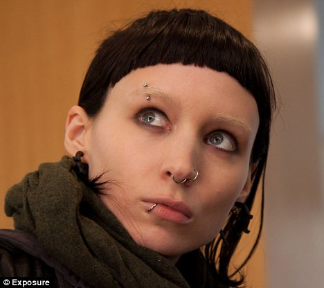 Who's that girl: Rooney Mara, barely recognizable, as Lisbeth Salander