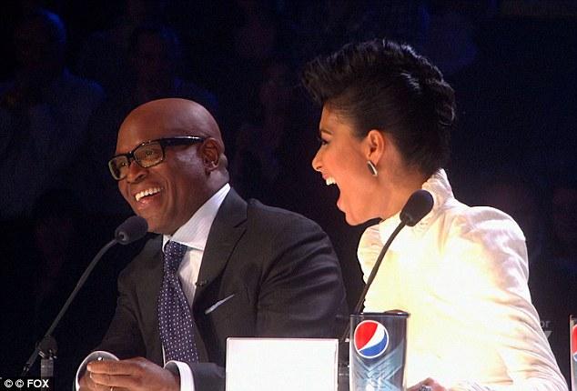 Laughs: Judges L.A Reid and Nicole Scherzinger had a few laughs on the night