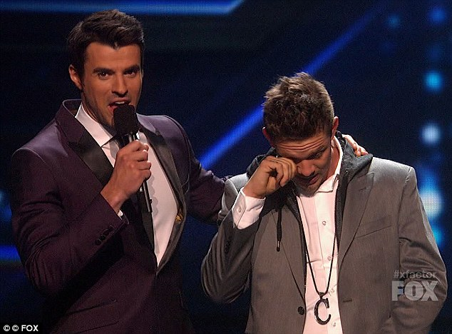 Tears: The rapper broke down in tears following the judges remarks about his performance