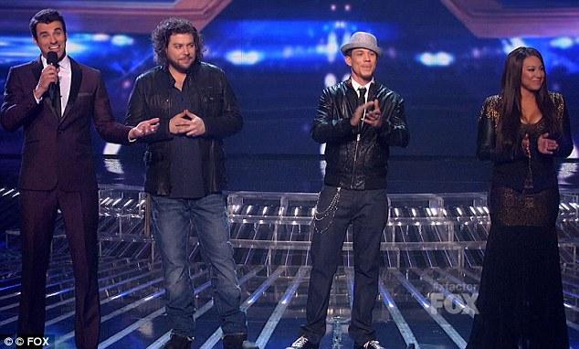 In it to win it: Host Steve Jones with finalists Josh Krajcik, Chris Rene and Melanie Amaro
