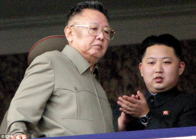 Like father, like son: Kim Jong Il (left) pictured with Kim Jong Un (right) at a parade celebrating the 65th anniversary of the ruling Korean Workers Party in Pyongyang, North Korea, in October 2010