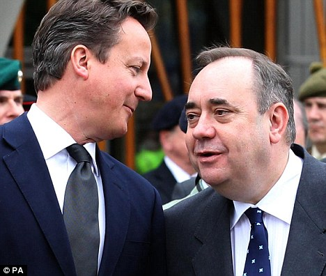 Shy: David Cameron's government has been accused of being too timid in countering Salmond, right