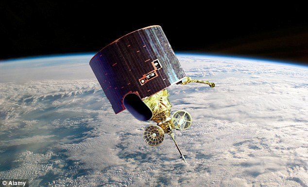 The sphere could be a hydrazine tank used on satellites such as the one pictured