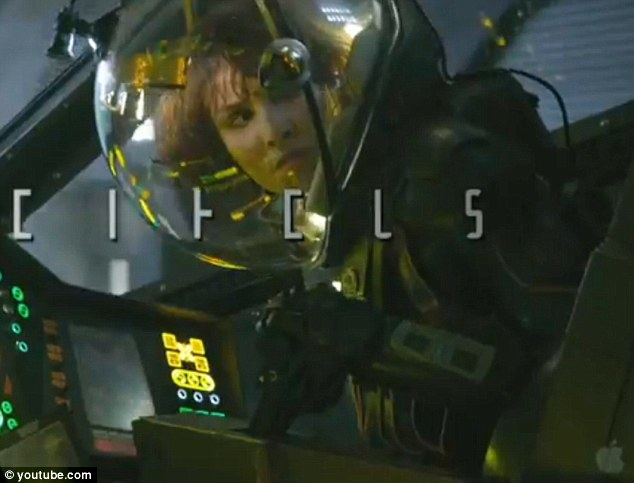 An unwelcome visitor? Noomi Rapace is disturbed as she drives a vehicle in her spacesuit but what she sees is left tantalisingly unclear