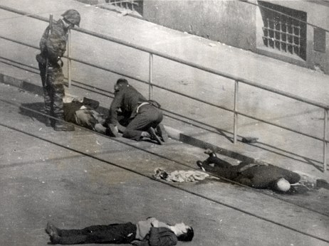 French troops tend to an injured demonstrator in Algiers in 1962