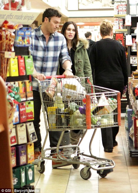 Stocking up: Megan Fox and her husband Brian Austin Green were pictured grocery shopping in Hollywood