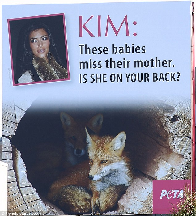 Blasted: Animal rights group PETA have attacked Kim Kardashian for her love of fur coats in a billboard advert