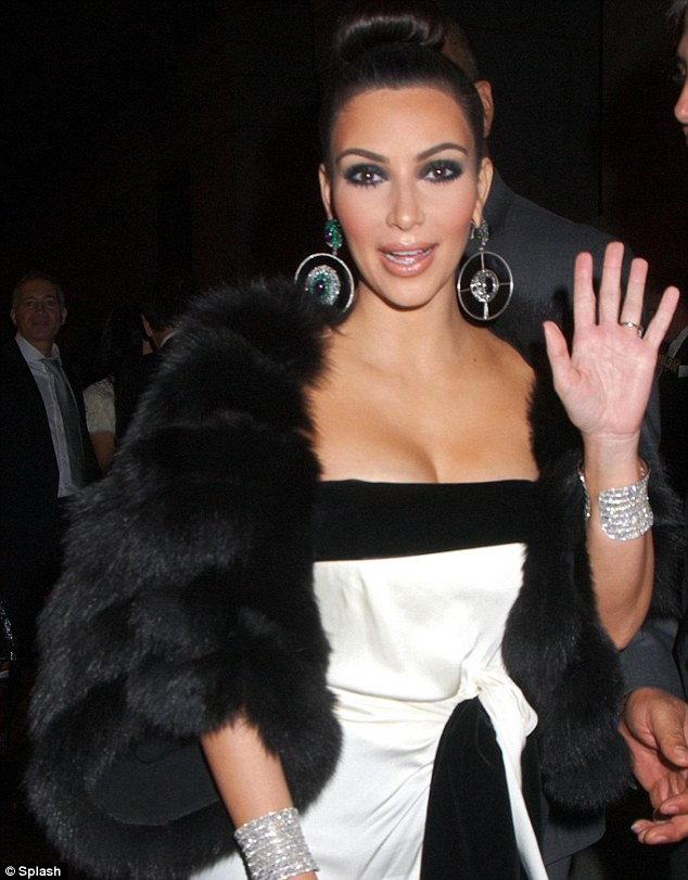 Fur-lover: Kim wore this black fur number to a charity event in New York in October